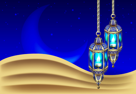 sand dunes: Night background with vintage gold lantern
