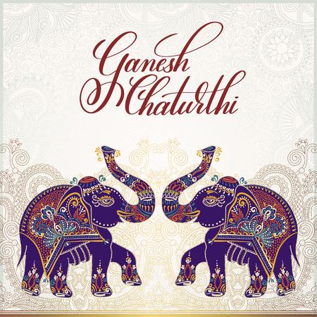 mythology: Ganesh chaturthi greeting card design with two elephant