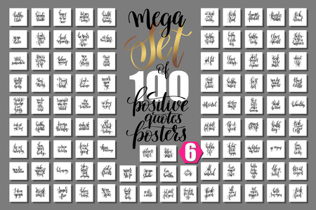 sport: mega set of 100 hand lettering quotes about fitness and healthy