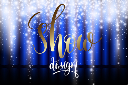 Ice show design with blue curtain and snowy hanging luminous icicles, vector illustration.