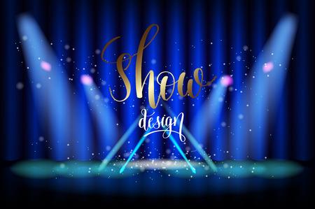 show design scene illumination on blue curtain background, vector illustration Illustration