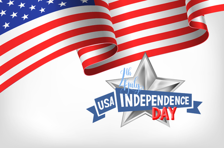 4th july USA independence day banner with american flag and hand lettering, greeting card design, vector illustration Illustration