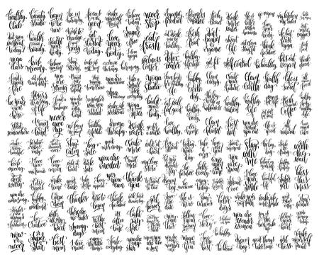 200 ręcznie napisanych cytatów motywacyjnych, fitness i zdrowego życia Ilustracje wektorowe