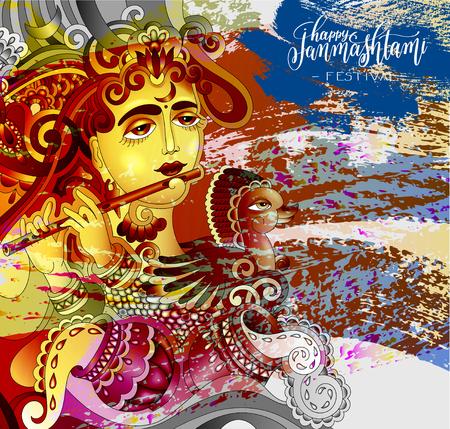 Happy janmashtami celebration design greeting card Illustration