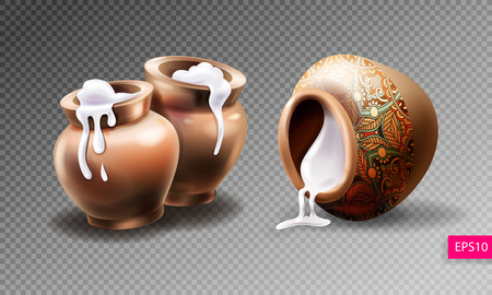 Three realistic clay pots with sour cream