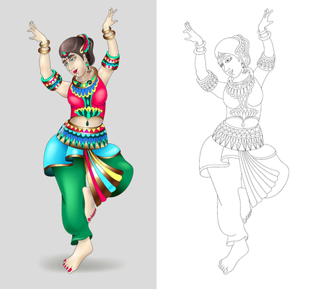 beautiful indian women dancing coloring isolated