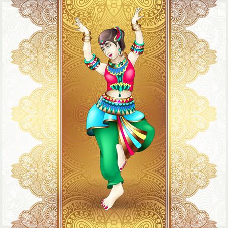 beautiful indian girl dancing Illustration