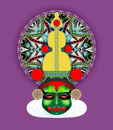 sravanmahotsav: Indian kathakali dancer face illustration.