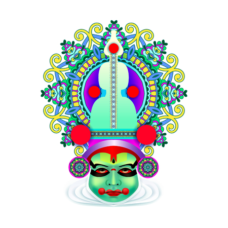 Indian Kathakali dancer face illustration.