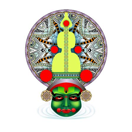 sravanmahotsav: An indian kathakali dancer face illustration. Illustration