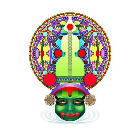 malayalam: An indian kathakali dancer face design illustration Illustration