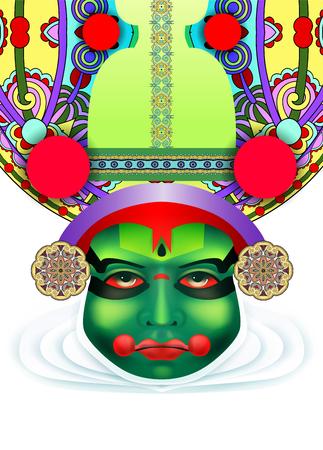 ritual: Indian kathakali dancer face, illustration. Illustration