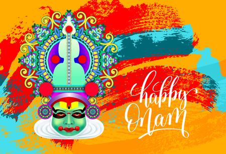 Happy onam greeting card with indian kathakali dancer face royalty happy onam greeting card with indian kathakali dancer face stock vector 80951325 m4hsunfo