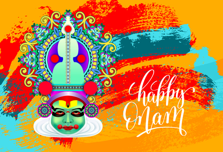 Happy onam greeting card with indian kathakali dancer face