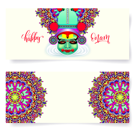 occasions: Happy onam holiday horizontal greeting card banner design Illustration