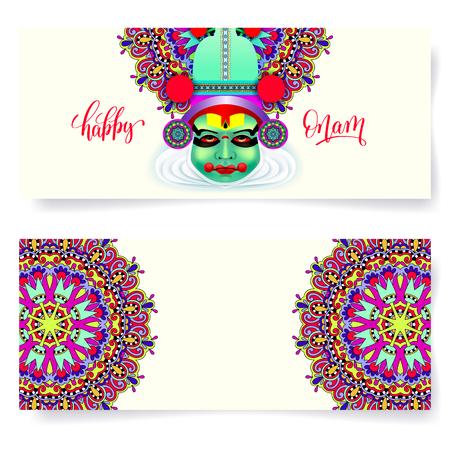 malayalam: Happy onam holiday horizontal greeting card banner design Illustration