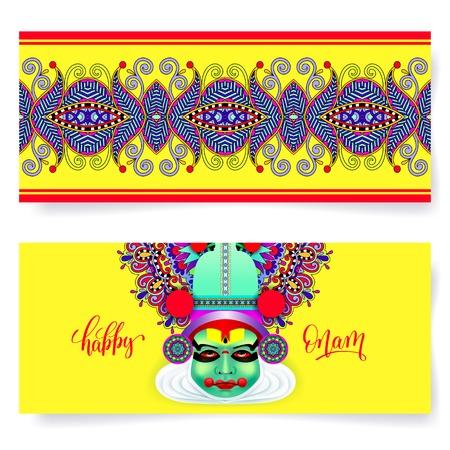 ritual: Happy onam holiday horizontal greeting card banner design Illustration