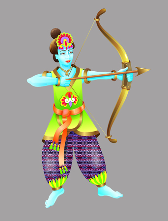 God of krishna shoots from a bow Illustration