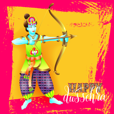 Happy dussehra greeting card design with the god krishna Illustration