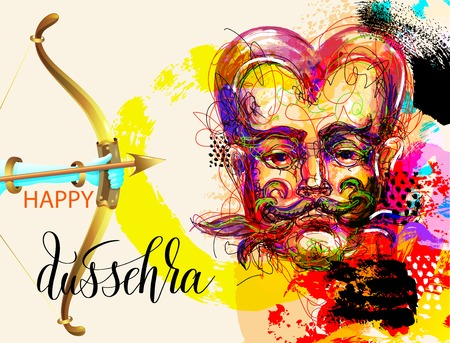 Happy dussehra poster design with a portrait of a demon