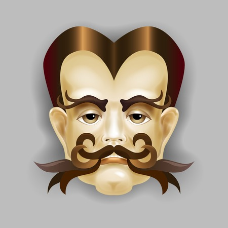hair mask: Man with a beautiful hair and a luxurious mustache