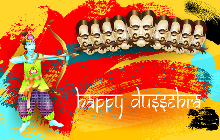 ramayan: Happy dussehra indian holiday poster with face of ravana