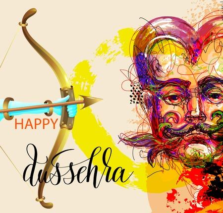 dashamukha: Happy dussehra poster design with a portrait Illustration