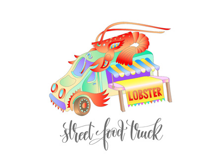 street food truck with lobster, van delivery isolated isolated