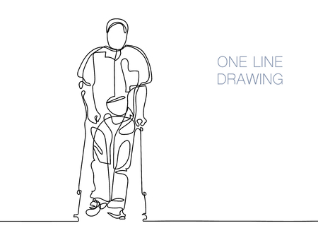 medical drawing: Man walking with help of crutches Illustration