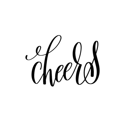 overly: cheers black ink hand lettering calligraphy text Stock Photo