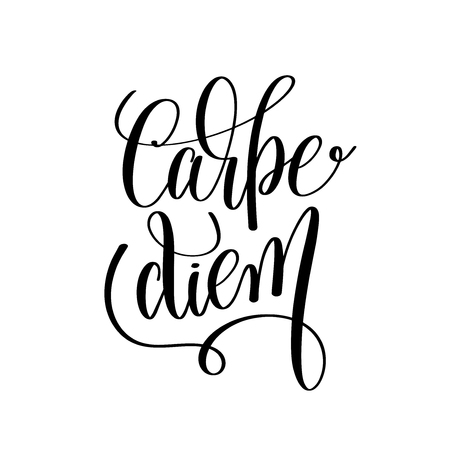 carpe diem black and white hand written lettering positive quote