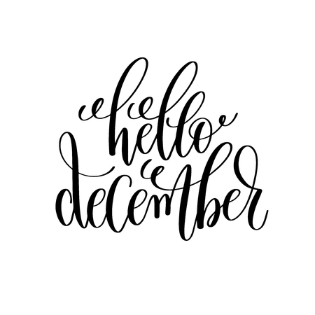 hello december hand lettering positive quote to christmas holida Illustration