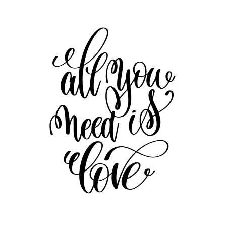 black family: all you need is love handwritten typographic poster, ink handmad
