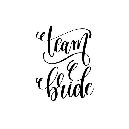 escritura de la escritura de la mano de la novia del equipo blanco y negro