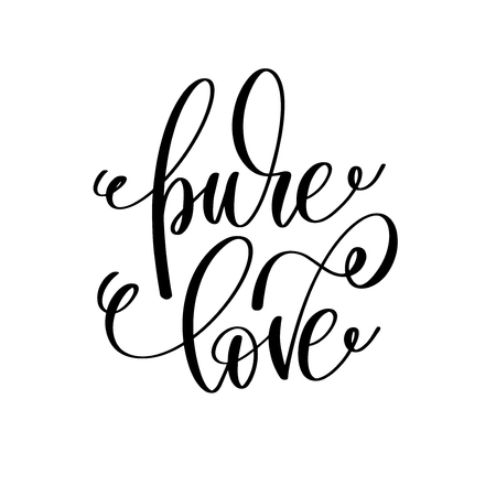 pure love hand lettering romantic quote to valentines day or wed Illustration