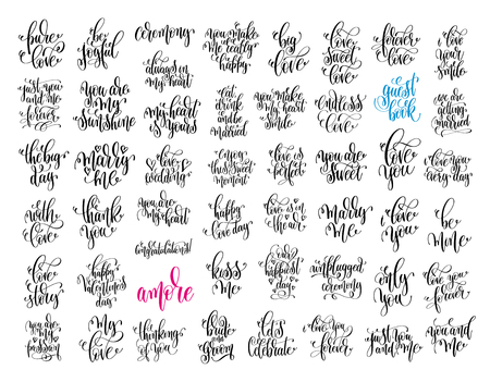 set of 50 hand lettering wedding invitation and romantic valenti Vektorové ilustrace