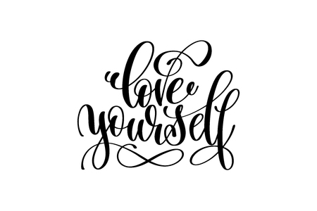 love yourself - hand written lettering inscription