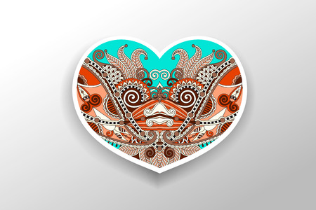 swirl: card with floral ornamental paisley heart, vector illustration