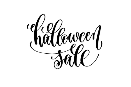 halloween sale hand lettering holiday inscription isolated on white to greeting cards, invitations or posters, black and white calligraphy vector illustration Illustration