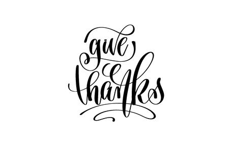 La inscripción de las letras de la mano del dar las gracias al diseño del día de fiesta de noviembre del día de la acción de gracias, caligrafía vector el ejemplo Foto de archivo - 88149644