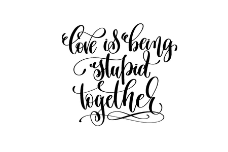 Liefde die stom samen hand het van letters voorzien inschrijving op witte achtergrond is.
