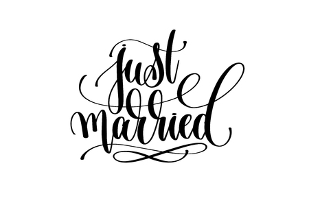 just married hand lettering inscription positive quote