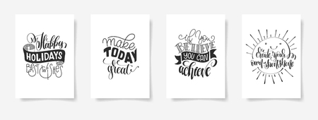 Set of four hand lettering posters positive quotes.