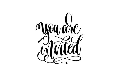 you are invited hand lettering event invitation inscription Ilustracja