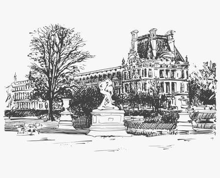 sketch drawing of the louvre famous place from paris france stock