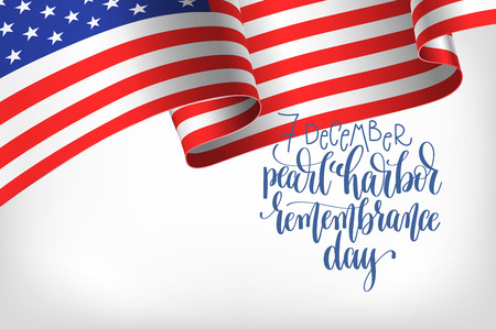 7 december pearl harbor remembrance day calligraphy poster Stock Illustratie