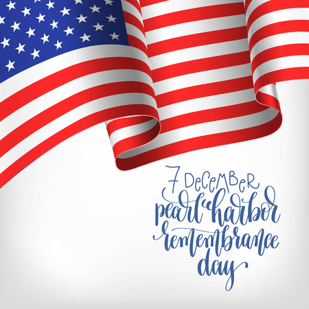 7 december pearl harbor remembrance day calligraphy poster Illustration