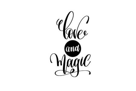 love and magic hand lettering positive quote Illustration
