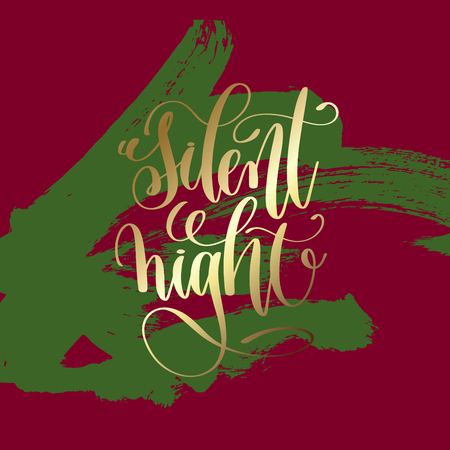 Silent night - gold hand lettering on green and purple brush stroke