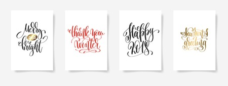 Merry and bright, thank you winter, and happy 2018 seasons greeting calligraphy vector illustration Illustration